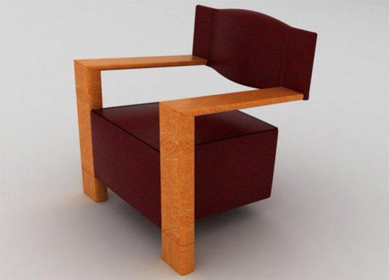 Sillones modernos silla reclinable de cuero negro sof de for Sillones de madera modernos