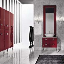 Otra vista de baño con detalles rojos