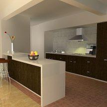Cocina con isla de bordes blancos y panel frontal de madera oscura, en combinación con los muebles.