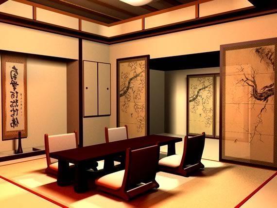 Habitación estilo oriental con paneles tradicionales como puertas hacia la esquina superior derecha y en el centro una mesa baja de madera oscura con cuatro sillas con respaldo acolchonado blanco. Piso de tatami y paredes en color beige con divisiones superiores en madera oscura.