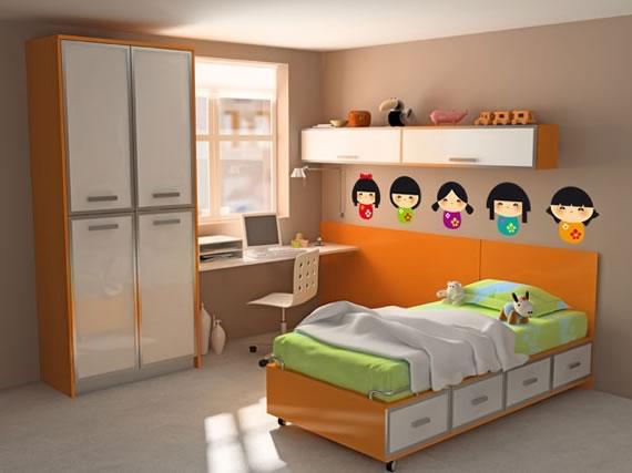 Pegatinas de pared kawaii de teleadhesivo for Pegatinas para habitaciones infantiles
