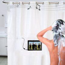 Cortina musical para baño