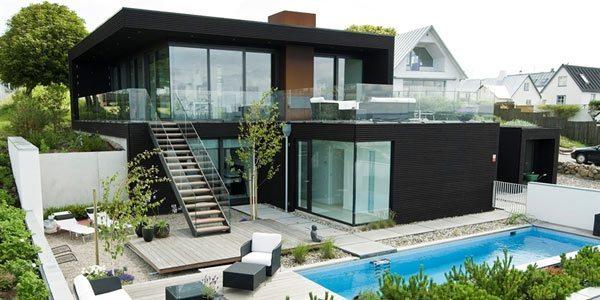 Casas modernas villa en suecia for Casas con terrazas minimalistas