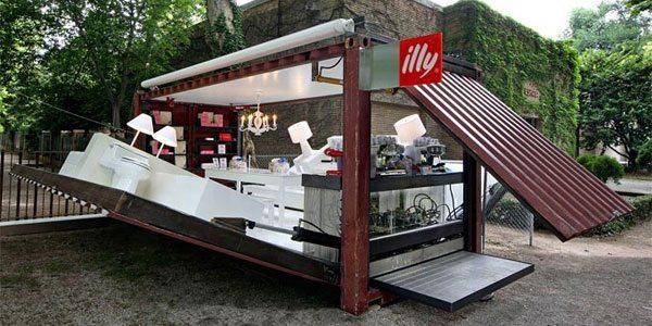 Cafetería en un container: Illy Push Button por Kalkin